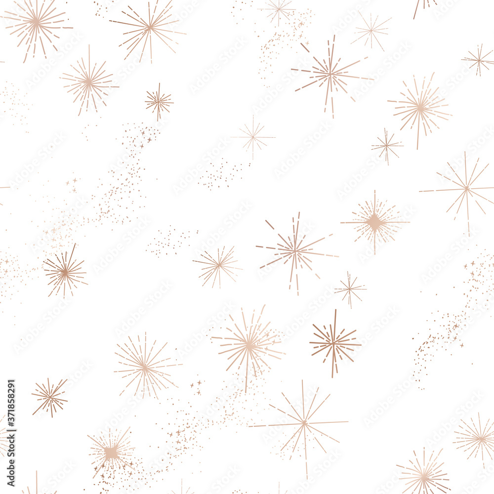 Fototapeta Starry Night Sky Trendy Seamless Pattern, Vintage Celestial Hand drawn Background Template of Galaxy, Space, Stars