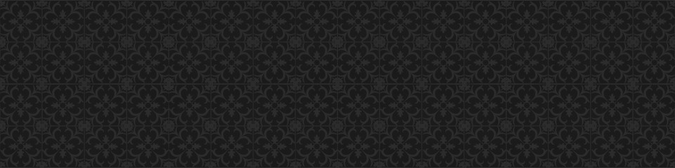 old grunge black anthracite dark gray grey vintage square mosaic tiles wall texture with floral flower seamless pattern print wallpaper texture background banner panorama