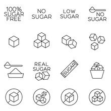 Sugar Cubes Line Icons And Sug...