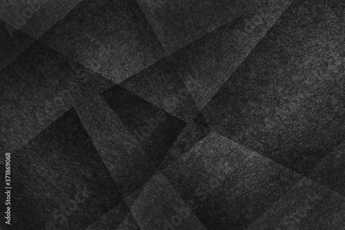 Fotografiet black abstract background with geometric layered shapes with texture, dark moder