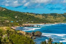 Surf Waves Reach The East Coast Of Barbados At Bathsheba Beach