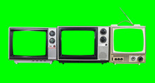 Three Vintage Televisions With Chroma Key Green Screens And Background.