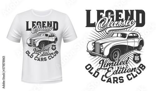 Canvas-taulu Old cars club t-shirt vector mockup
