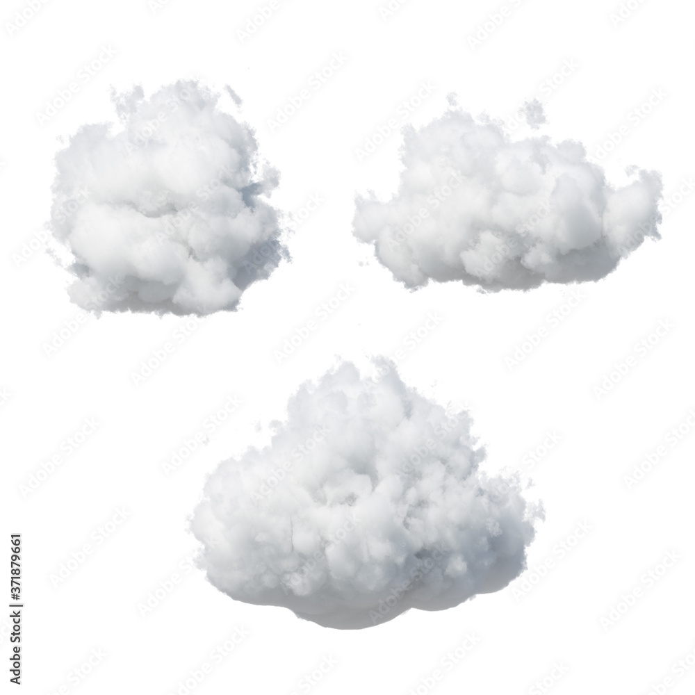 Fototapeta 3d render. Abstract fluffy white clouds isolated on white background. Weather forecast symbol. Cumulus clip art collection. Sky design elements set