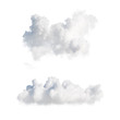 Leinwandbild Motiv 3d render. Shapes of abstract white clouds. Cumulus different perspective views, clip art isolated on white background.