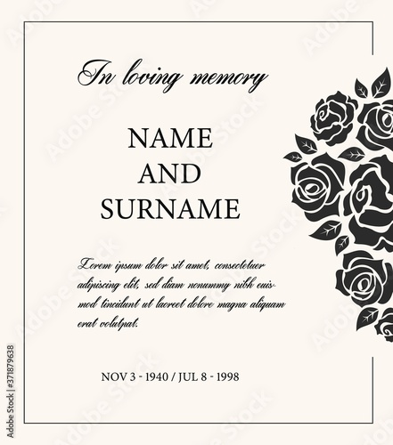 Valokuva Funeral card vector template, vintage condolence obituary with typography in loving memory and vintage rose flowers, place for name, birth and death dates