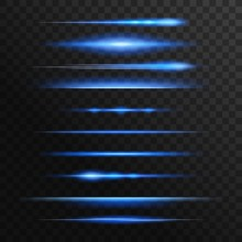 Blue And Neon Light Flashes, Glow Vector Lines. Glowing Illumination Of Lens Or Starlight Beams, Bursts And Sparkles. Isolated Horizontal Linear Sparkling Rays Traces, Shiny Explosion, Twinkling Flash