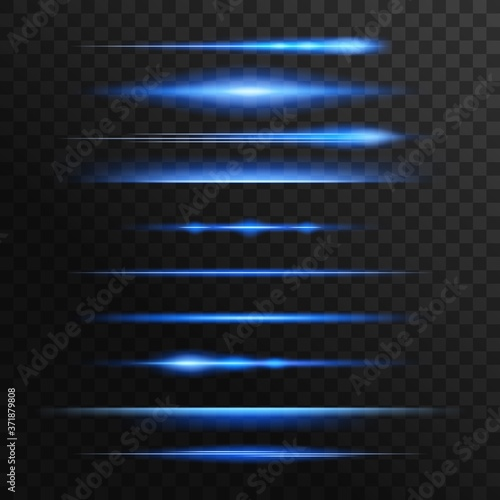 Fotografiet Blue and neon light flashes, glow vector lines