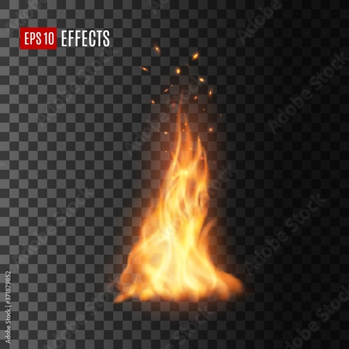 Foto Fire with sparks, isolated vector campfire or torch flame