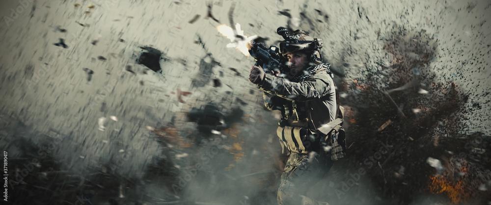 Fototapeta Special soldier in battlefield. war concept