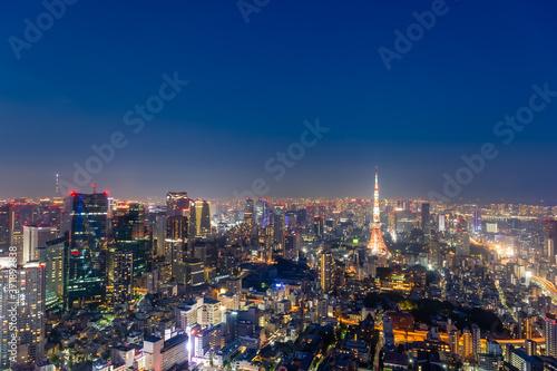 Fotografia 東京都港区六本木の高層ビルの展望台から見た夜の東京の都市景観