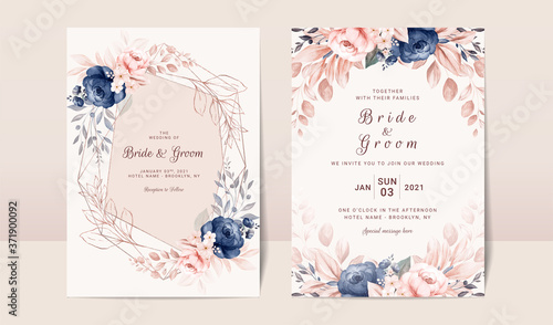 Fototapeta Floral wedding invitation template set with navy and peach watercolor roses and leaves decoration. Botanic card design concept obraz
