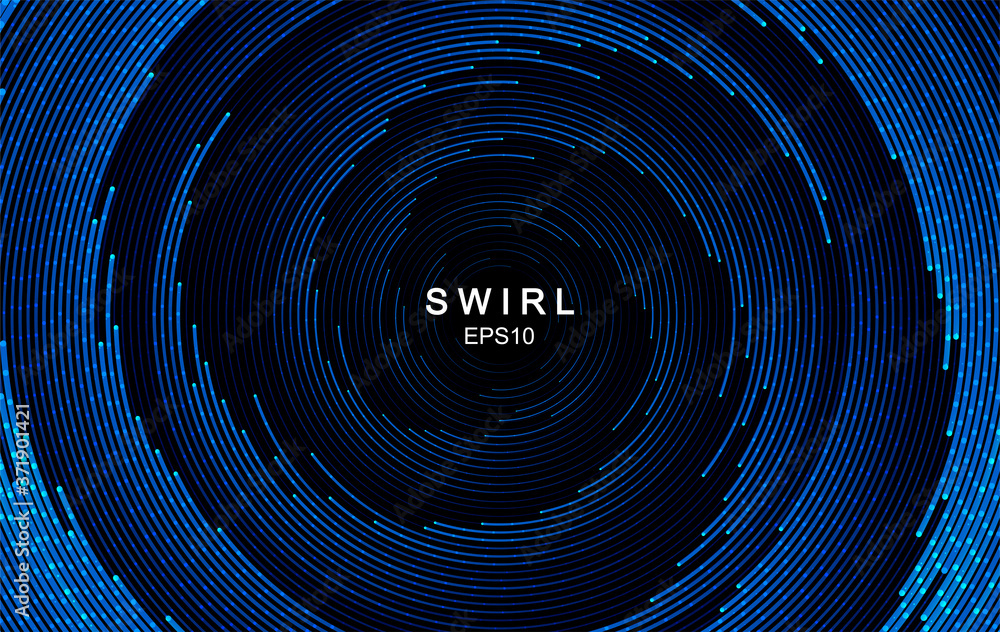 Fototapeta Abstract swirl trail or tunnel. Rotating sparkling background. Vector effect of acceleration, speed, motion and depth