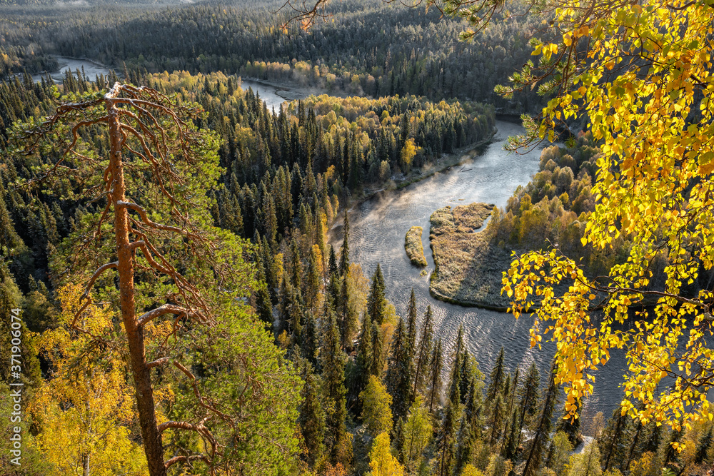 Autumn view in Oulanka National Park landscape
