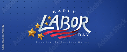 Obraz USA happy Labor day text design advertising banner template  - fototapety do salonu
