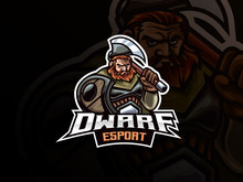 Dwarf Warrior Mascot Sport Logo Design