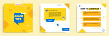 Social Media Tutorial, Tips, Trick, Did You Know Post Banner Layout Template With Geometric Background And Memphis Pattern Design Element