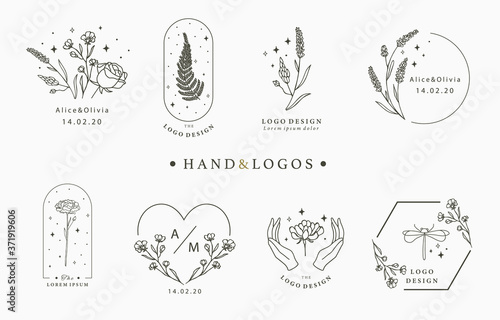 Fotografija Beauty occult logo collection with hand,geometric,crystal,moon,star,flower