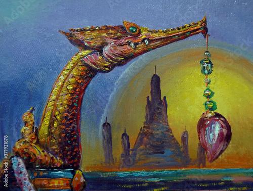 Fotografie, Obraz Art painting Oil color royal barge Thailand