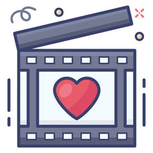 Heart Inside Clapperboard Depicting Love Movie