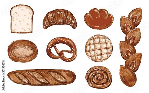 Obraz おしゃれなパンの手描きスケッチイラストセット - fototapety do salonu