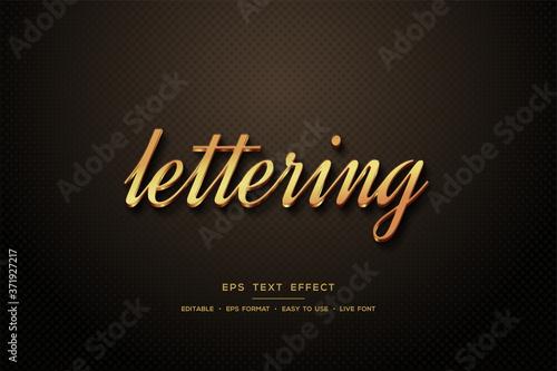 Leinwand Poster Script Text style effect 3d elegant gold color.