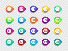 Bullet With Number. Icon With Point And Arrow. List Of Circles For Buttons. Png For Infographic From 1 To 20. Set Of Graphic Marker For Info, Text And Promotion. Simple Gradient Box With Pin. Vector