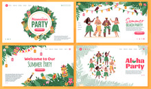 Set Of Website Pages For Dance And Music Beach Party In Hawaiian Style, Flat Cartoon Vector Illustration. Beach Bar Or Tropical Party Landing Page Template.