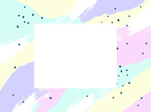 Abstract Colorful Paint Background With Copy Space. Brush, Marker, Pencil Stroke Pattern. Children, Kids Sketch Drawing. Pink, Purple, Black, Blue, White Color. Vanilla, Ice Cream, Unicorn Concept