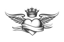 Heart With Crown, Wings And Ribbon Tattoo