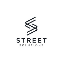 Initial Letter S Street With Simple Modern Line Style Logo Design