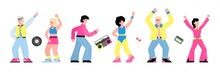 80s Disco Party Banner With Dancing People Cartoon Characters, Flat Vector Illustration Isolated On White Background. Dance Men And Women In Bright Retro Clothing.