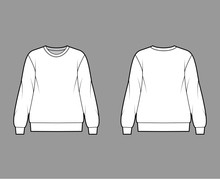 Cotton-terry Oversized Sweatshirt Technical Fashion Illustration With Relaxed Fit, Crew Neckline, Long Sleeves. Flat Outwear Jumper Apparel Template Front, Back White Color. Women, Men, Unisex Top CAD