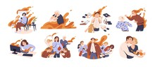 Set Of Different People In Fire Vector Flat Illustration. Collection Of Man And Woman Feeling Stress At Work, Anger, Or Love Surrounded By Flame Isolated On White. Concept Of Emotional Expression