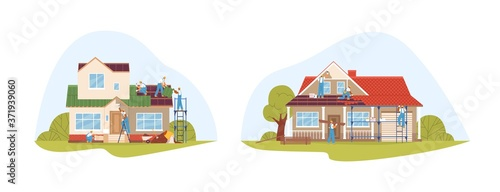 Canvas-taulu Crew of workers in uniform during repair of private houses set vector flat illustration