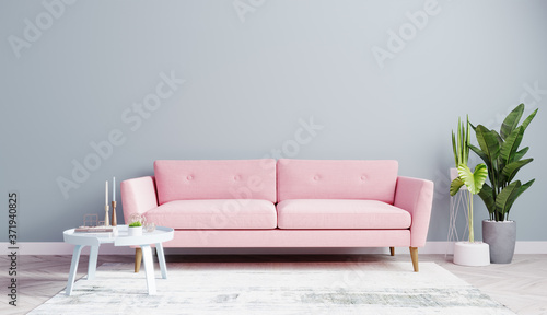 Bright Living Room Mock Up With Pink Sofa And Light Blue Wall With Wooden Floor Living Room Interior Background 3d Rendering Buy This Stock Illustration And Explore Similar Illustrations At Adobe