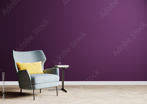 Papel de parede empty purple wall with gray armchair on wooden floor,  bright living room interi