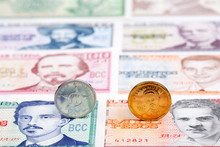 Cuban Pesos Coins On A Backgro...