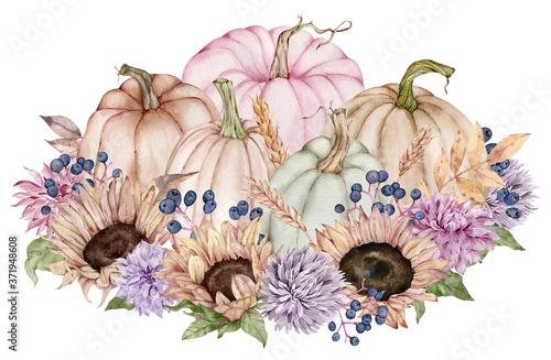 Fototapeta Watercolor fall flowers, sunflowers, autumn leaves, berries in the pumpkin