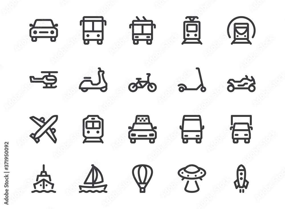 Fototapeta Transport line icon. Minimal vector illustration with simple outline icons as car, bus, train, bicycle, truck, motorcycle, cargo shipping, lorry and other vehicle. Editable Stroke. Pixel Perfect
