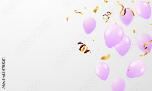 Tela pink White balloons, confetti concept design template Happy Valentine's Day, background Celebration Vector illustration