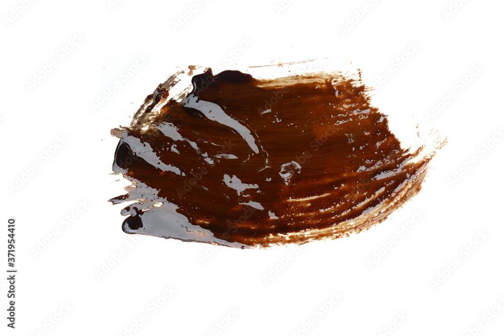 Fototapeta Liquid tar puddle isolated on white background.