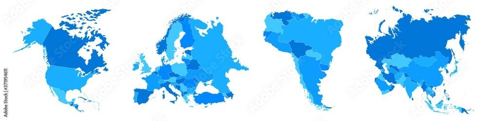 Fototapeta States of America territory. North and South America. Asia, Eurasia, Europe. Vector illustration. EPS 10