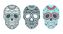 Set Of Sugar Skulls For The Day Of The Dead Or Halloween. Vector Silhouettes Of Human Skulls With Patterns. Templates And Stencils For The Festive Decor Or Tatoo . Skull Head Traditional Mexican Symbo