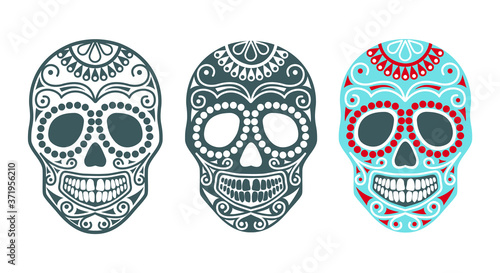 Set of sugar skulls for the day of the dead or halloween Canvas Print