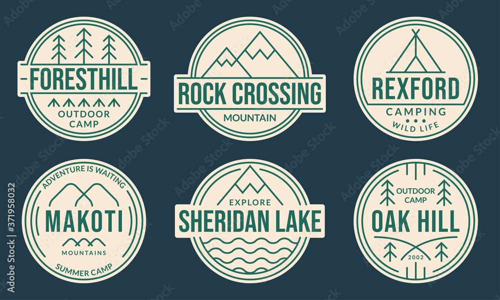 Fototapeta Camp badge set. Camping logos with forest, mountain, lake or river and tourist tent. Outdoor emblems. Trekking or hiking and climbing design elements. Vector illustration.