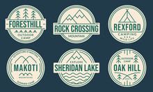 Camp Badge Set. Camping Logos With Forest, Mountain, Lake Or River And Tourist Tent. Outdoor Emblems. Trekking Or Hiking And Climbing Design Elements. Vector Illustration.