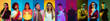 Collage of portraits of 10 young emotional people on multicolored background in neon light. Concept of human emotions, facial expression, sales. Smiling, cheering, crazy happy, shocked, pointing