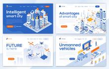 Flat Modern Design Of Landing Page Template -Smart City Set