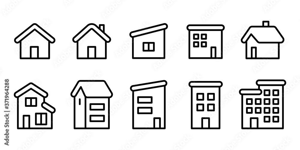 Fototapeta 家ホームマンションアパート3階建線画アイコンセット白黒